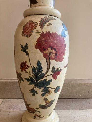 Decorative Objects  - Pair of italian arte povera wooden vases, 18th century