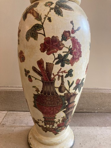Pair of italian arte povera wooden vases, 18th century -