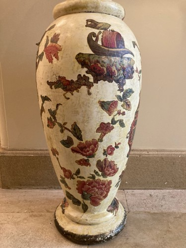 18th century - Pair of italian arte povera wooden vases, 18th century