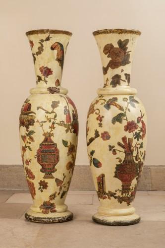 - Pair of italian arte povera wooden vases, 18th century