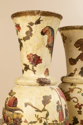 Antiquités - Pair of italian arte povera wooden vases, 18th century
