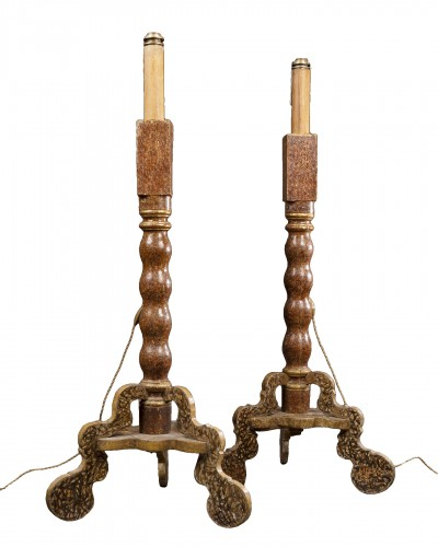 Pair of painted and gilt wood torchères, Spain17th century