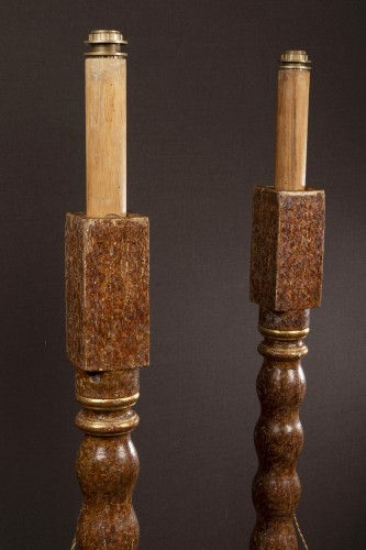 17th century - Pair of painted and gilt wood torchères, Spain17th century