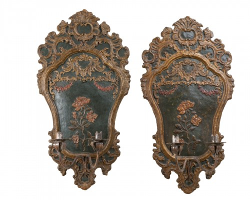 Pair of italian 18th century painted papier-mâché sconces