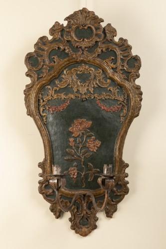 Pair of italian 18th century painted papier-mâché sconces - Lighting Style