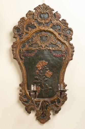 Pair of italian 18th century painted papier-mâché sconces -