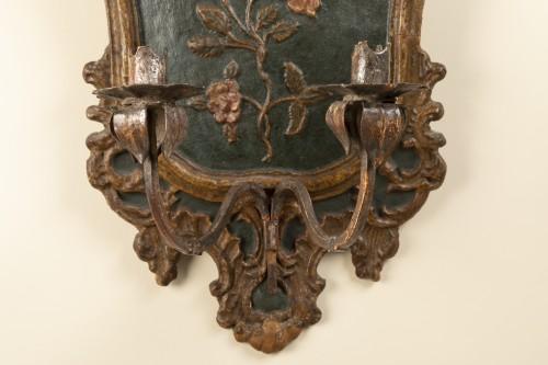 18th century - Pair of italian 18th century painted papier-mâché sconces