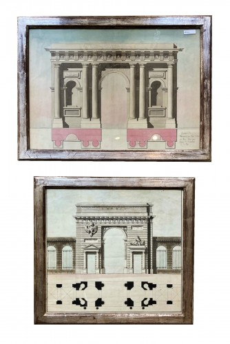 2 architectural drawings of porticos