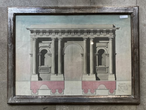 2 architectural drawings of porticos - Paintings & Drawings Style Louis XVI