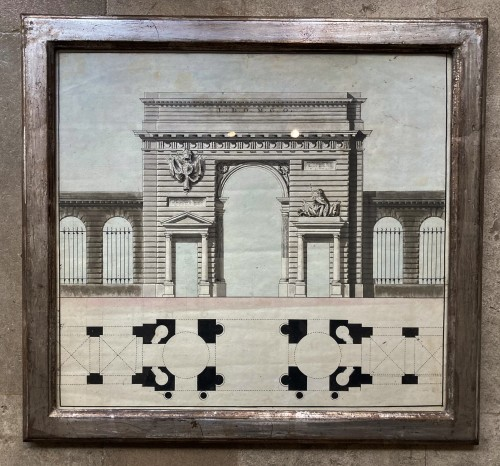Paintings & Drawings  - 2 architectural drawings of porticos