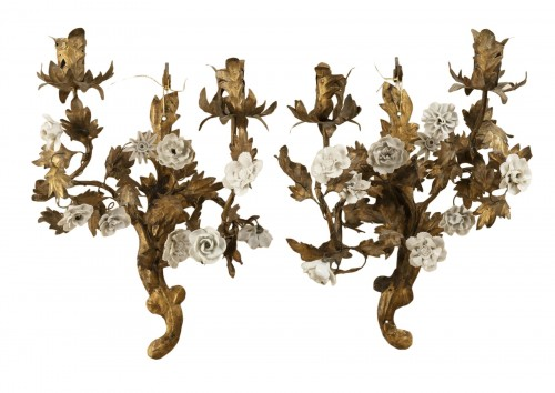 A Pair of Louis XV gilt tole wall appliques