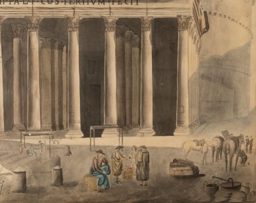 Paintings & Drawings  - Vue Du Panthéon De Rome, Aquarelle 19ème