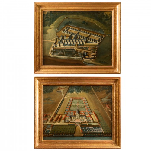Pair of 18th century paintings of monastery