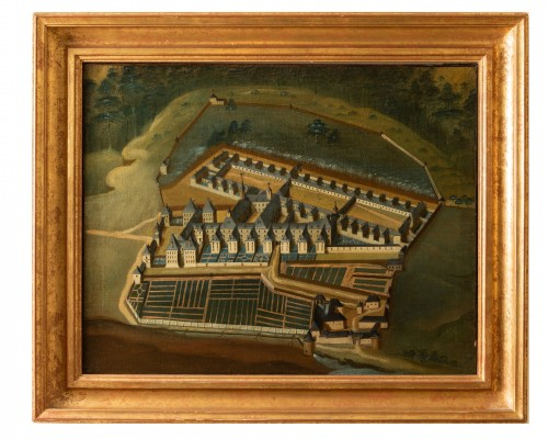 Pair of 18th century paintings of monastery  - Paintings & Drawings Style