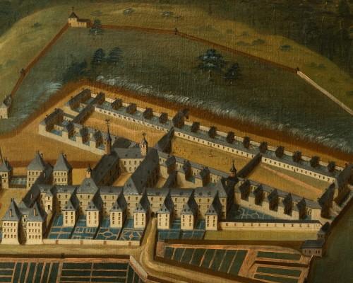 Pair of 18th century paintings of monastery  -
