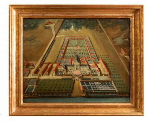 - Pair of 18th century paintings of monastery
