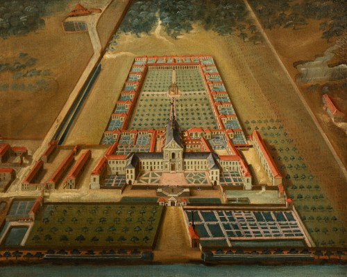Antiquités - Pair of 18th century paintings of monastery