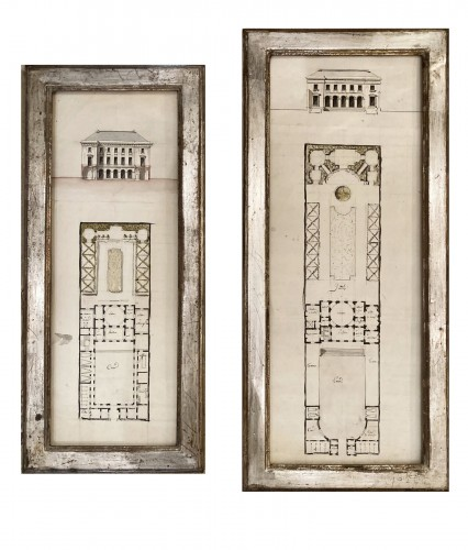 pair of architectural drawings, France 18th century