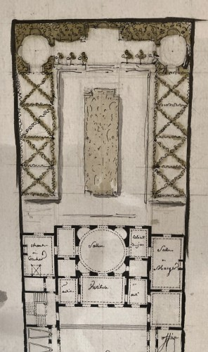 pair of architectural drawings, France 18th century - Paintings & Drawings Style Louis XVI