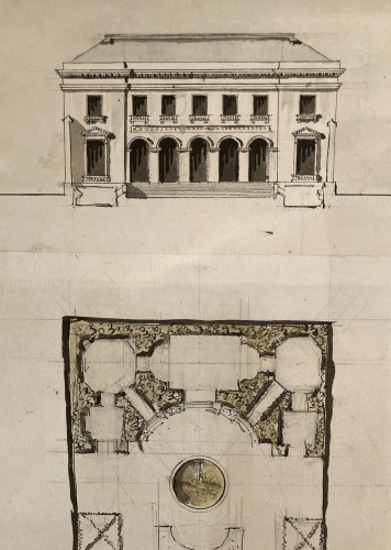 pair of architectural drawings, France 18th century - Louis XVI