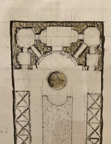Louis XVI - pair of architectural drawings, France 18th century