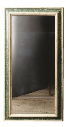 Large  painted wooden green and white faux marbre mirror, Italy 17th century