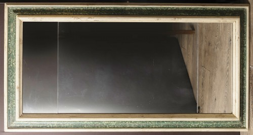 Large  painted wooden green and white faux marbre mirror, Italy 17th century - Mirrors, Trumeau Style Louis XIV