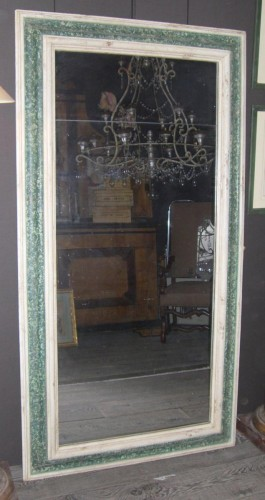 Large  painted wooden green and white faux marbre mirror, Italy 17th century -