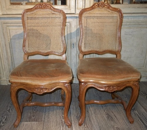 6 french caned chairs in natural wood - Seating Style Napoléon III