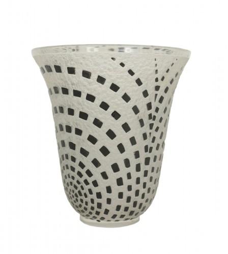 """René Lalique - """"Damiers"""" Vase Black Enameled"""