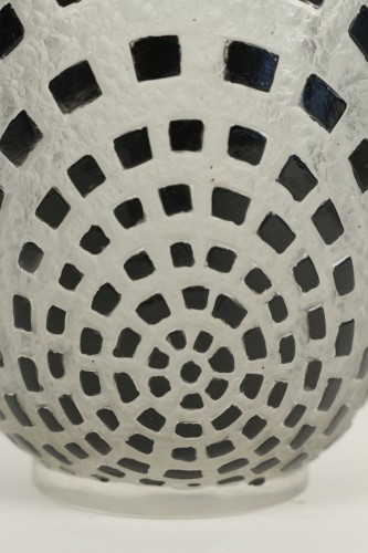 "Glass & Crystal  - René Lalique - ""Damiers"" Vase Black Enameled"
