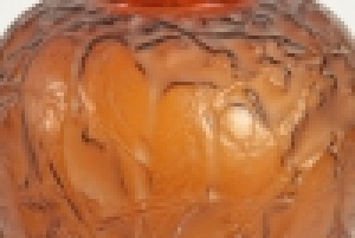 "Rene Lalique Amber Vase ""Perruches"" -"