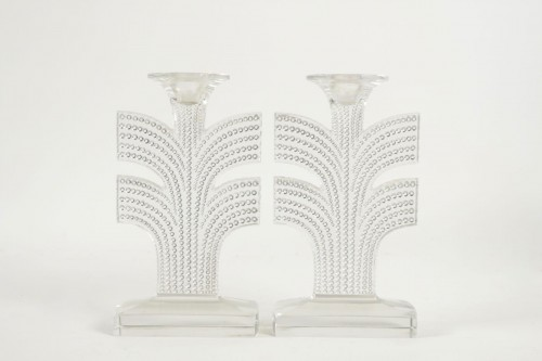 "René Lalique - Pair of Candlestick  ""Tokyo"" - Glass & Crystal Style"