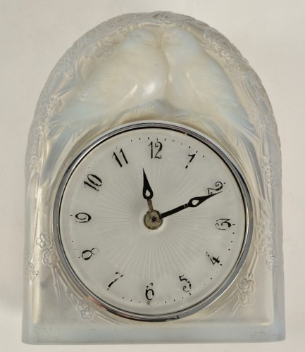 LALIQUE René - « Two perched birds » Clock - Glass & Crystal Style