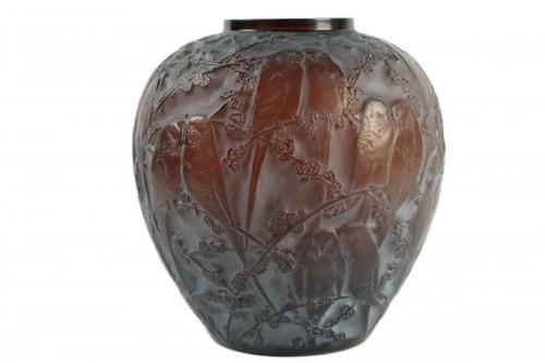 "René Lalique Vase"" Perruches "" Amber"