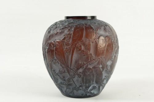 """Antiquités - René Lalique Vase"""" Perruches """" Amber"""