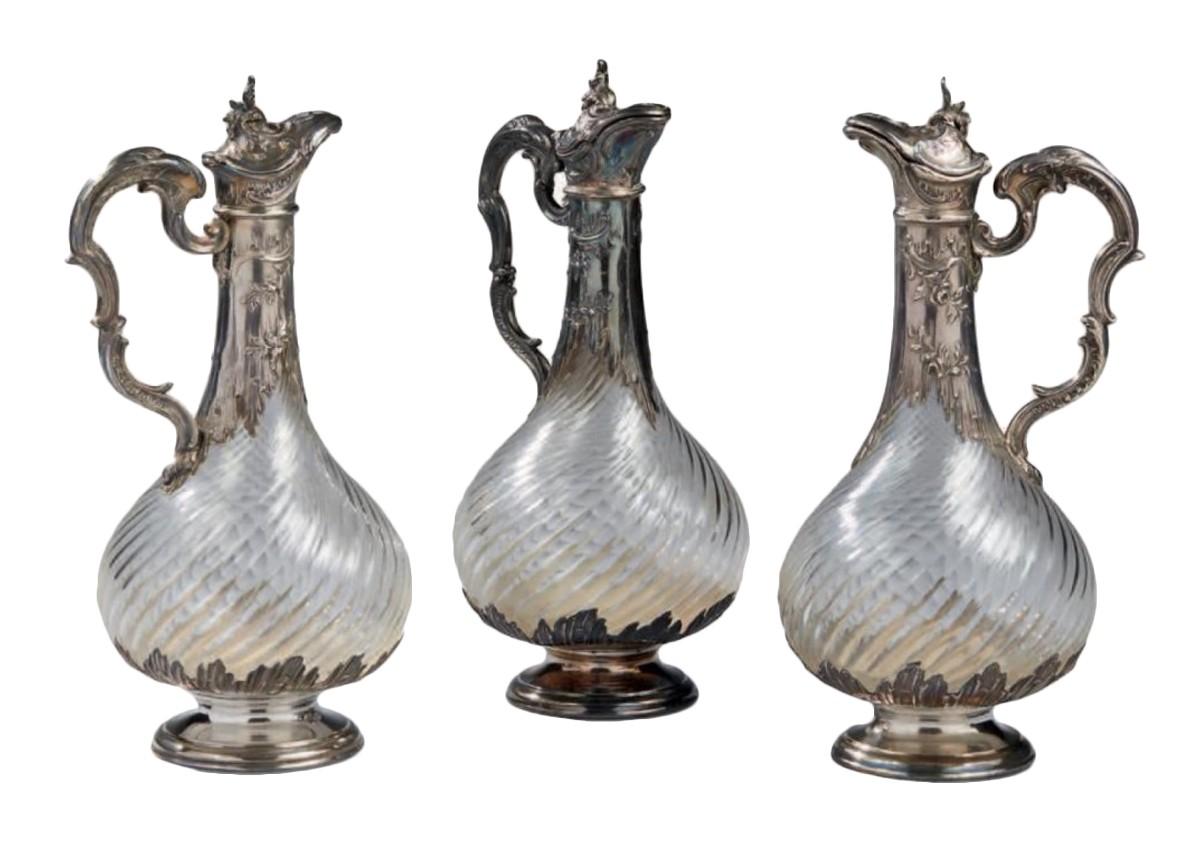 Suite de trois aiguières en argent massif, France fin XIXe siècle ... 6e565376aa7