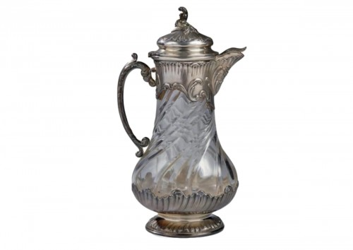 French Sterling Silver Cut Swirled Crystal Claret Jug or Pitcher