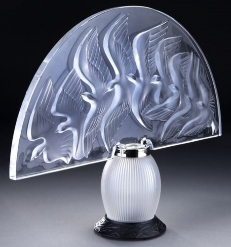 "LALIQUE & Marie Claude Lalique "" HOKKAIDO "" Lamp - Glass & Crystal Style"