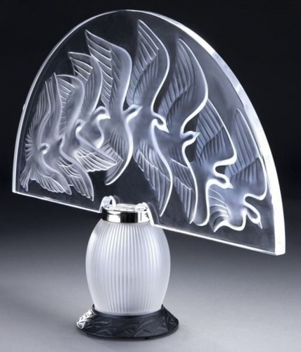 "Glass & Crystal  - LALIQUE & Marie Claude Lalique "" HOKKAIDO "" Lamp"