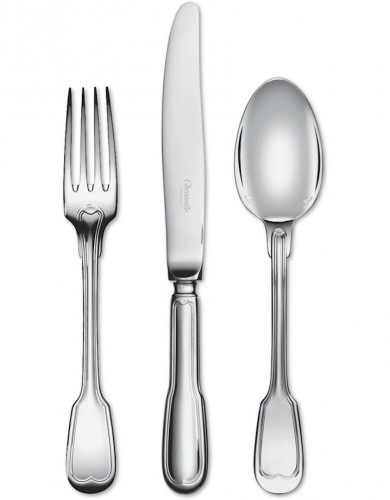 "Christofle Flatware ""Chinon"" Silverplated 103 pieces - Antique Silver Style"