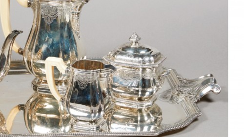 French silver strerling tea and coffee set - Lappara - Antique Silver Style
