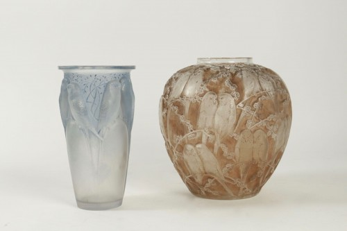 """Glass & Crystal  - Rene Lalique Frosted and Sepia Stained Vase """"Perruches"""""""