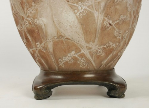 """Rene Lalique Frosted and Sepia Stained Vase """"Perruches"""" -"""
