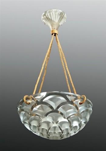 """Antiquités - Hanging lamp """"Rinceaux """" - René Lalique"""