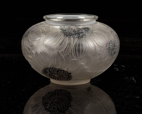 "Glass & Crystal  - René Lalique - ""Dalhias"" Vase Enamelled Black"