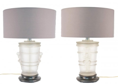 Pair of Marc Lalique Glass Lamp