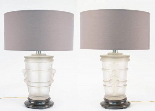 Antiquités - Pair of Marc Lalique Glass Lamp