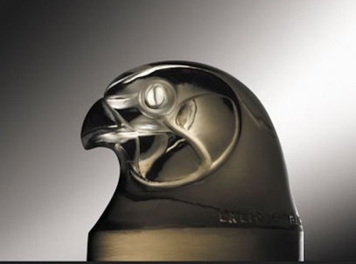 """Rene Lalique Car Mascot """" Tete D'Epervier """" - Glass & Crystal Style"""