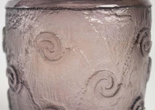 "Daum Nancy Thick Art Deco Vase ""Amethyst"" - Glass & Crystal Style"